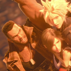 Cloud, Tifa, and Barret escaping the descruction of Sector 7.