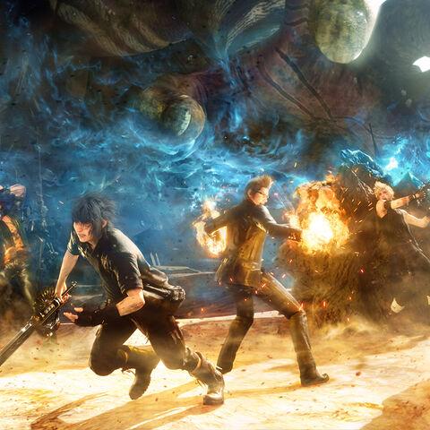 Imagem promocional com os principais protagonistas de <i>Final Fantasy XV</i> em batalha; Titan aparece no fundo.
