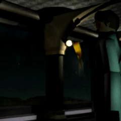 Rufus in an FMV from <i>Final Fantasy VII</i>.