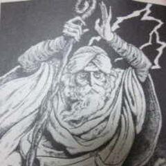 Um Minwu idoso retratado no livro-jogo.