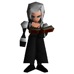Sephiroth holding a book.