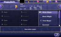 FFV iOS Magic-Skills Menu