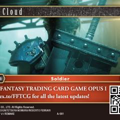 Рекламная карта с изображением Клауда из <i>Final Fantasy VII Remake</i>.