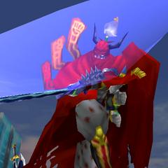 Gilgamesh usando a Excalibur em <i><a href=
