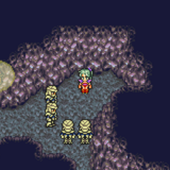Terra cornered by guards in the Narshe Mines.
