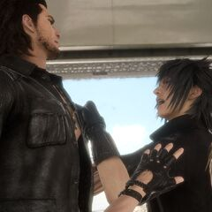 Noctis and Gladiolus fight.