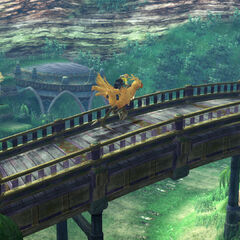Player rides a chocobo in <i>Final Fantasy X</i>.