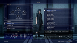 Accessories equip menu in FFXV