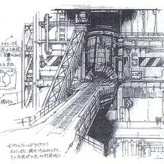 Концепт-арт входа в реактор в Мидгаре.