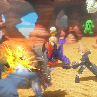 The characters fighting Fenrir.