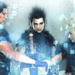 Рекламный CG рисунок Зака вместе с Ангилом и Клаудом.
