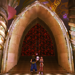 Noel and Serah at the sealed entrance to Serendipity.