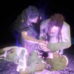 Ardyn alucina e é forçado a matar Aera por Somnus em <i>Episode Ardyn</i>.