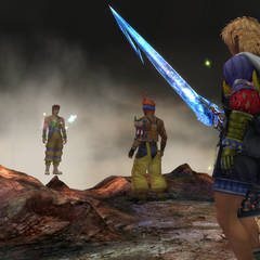 Wakka telling Chappu that he gave the Brotherhood to Tidus.