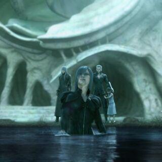 Kadaj, Yazoo, and Loz at the Capital lake.