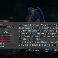 Os dados do scan de Seymour em <i>Final Fantasy X</i>.