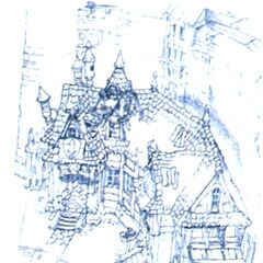 Concept art of town square buildings.