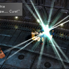 Selphie tries to cure Zell under anti-magic field.
