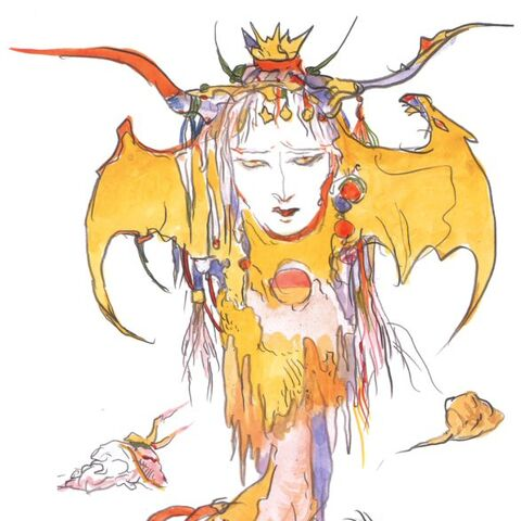 Artwork of the Queen of Eblan by Yoshitaka Amano.
