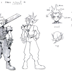 Concept sketches of Cloud wielding a smaller Buster Sword.