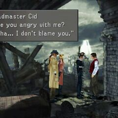 Cid talking to Squall and his party about his secretive nature.