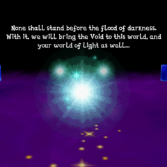 The Cloud of Darkness confronts the party at the World of Darkness (iOS).