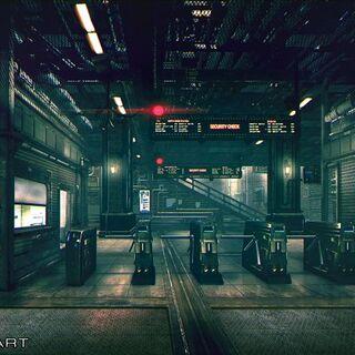 Train station interior artwork.