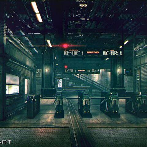 Train station artwork.