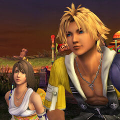 Tidus and Yuna on the Mi'ihen Highroad.