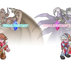 Firion with Warrior from the original <i>Final Fantasy</i>.