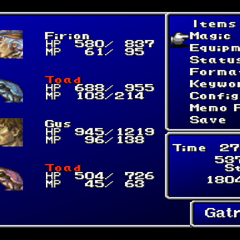 Maria as a toad in the menu of <i>Final Fantasy II</i> (PS).