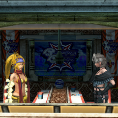 Rikku and Paine inside the lounge.