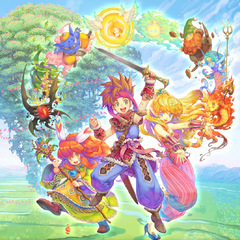 Randi, Primm and Popoi's appearance in the <i>Secret of Mana</i> (2018).