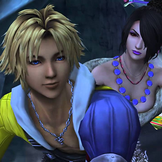 Tidus and Lulu on a machina sled.