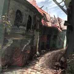 An alley post-destruction.
