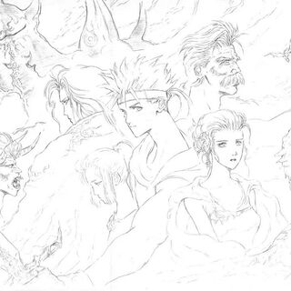 Artwork of the main characters, upper right: Exdeath, left: Gilgamesh and Enkidu, center: Bartz, and in clockwise order, starting from upper right: Galuf, Lenna, Krile, and Faris, right to Lenna: Syldra.