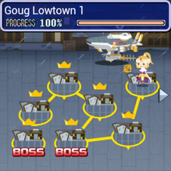 World map of Goug Lowtown in <i>Final Fantasy Airborne Brigade</i>.