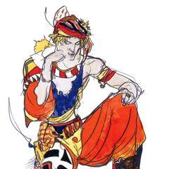 Artwork of Kain without armor by Yoshitaka Amano.