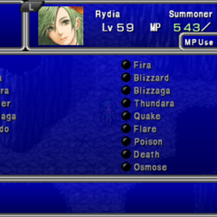 Magic menu in the PSP version.