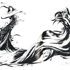 Чёрно-белый вариант логотипа <i>Final Fantasy X</i>.