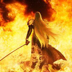 Key art of Sephiroth walking through flames.