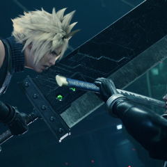 Clashing with Cloud in Shinra HQ.