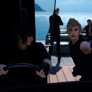 Noctis steers the royal vessel.