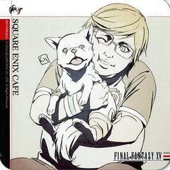 Изображение Промпто с Приной на бирдекелях в Square Enix Cafe.