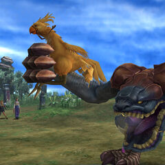 Chocobo Eater holding a chocobo in <i>Final Fantasy X</i>.