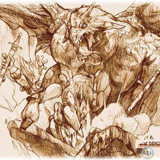 A dragon clawing at an adventurer.