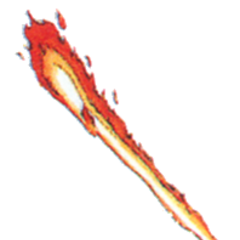 Concept art of Flame Staff from <i>Final Fantasy III</i>.
