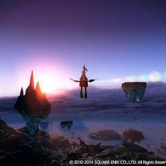 Um jogador voando com um Chocobo.