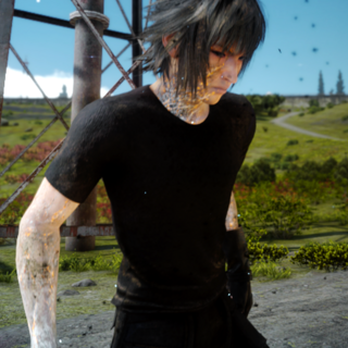 Noctis's body scarred as effect by the Ring of the Lucii in <i>Final Fantasy XV</i>.