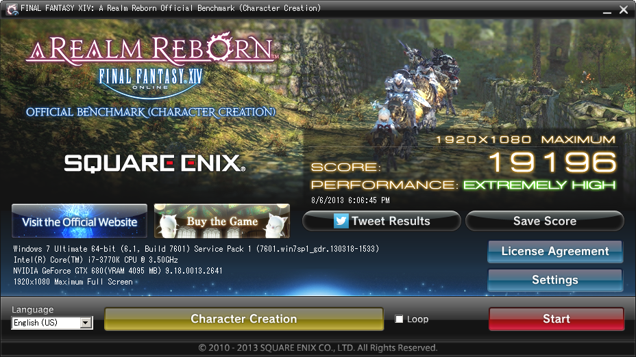 Final Fantasy XIV: A Realm Reborn Official Benchmark